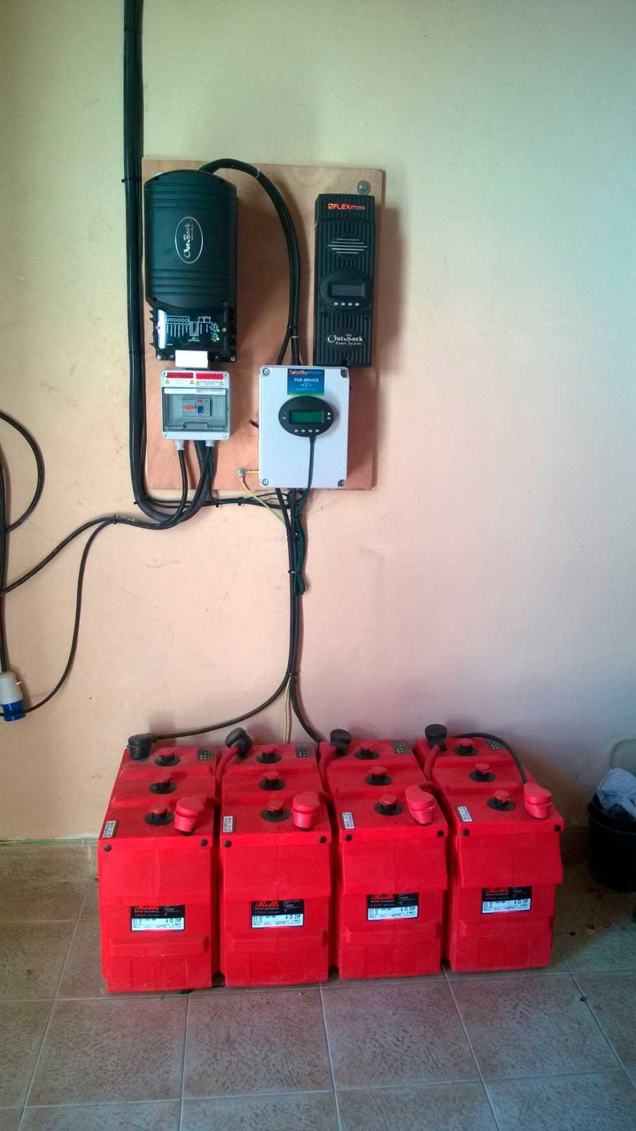 solar power electric battery setup